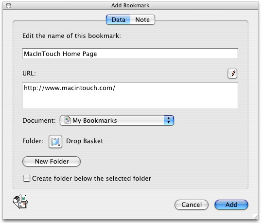 Add Bookmark Window